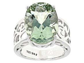 Green Prasiolite Sterling Silver Solitaire Ring 9.59ct