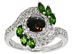 Black Ethiopian Opal Sterling Silver Ring 1.41ctw