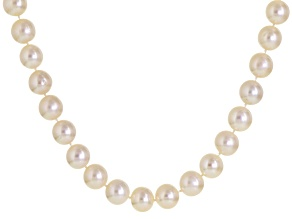 Cultured Freshwater Pearl Rhodium Over Sterling Silver Necklace 11-12mm