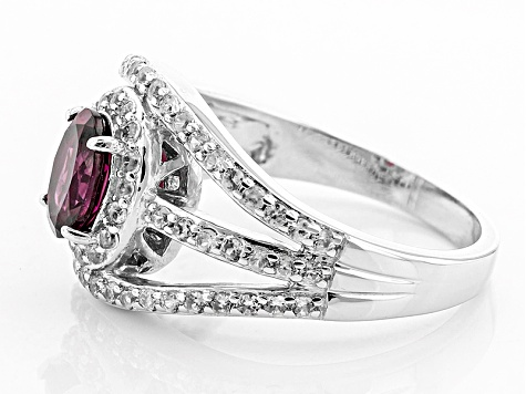 Purple Rhodolite Sterling Silver Ring 1.29ctw