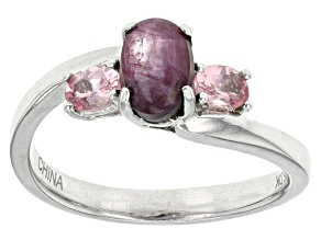 Red indian Star Ruby Sterling Silver Ring 1.29ctw