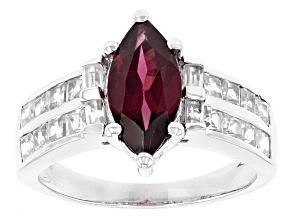 Purple Rhodolite Sterling Silver Ring 2.92ctw