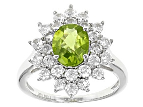 Green Peridot Sterling Silver Ring 3.29ctw