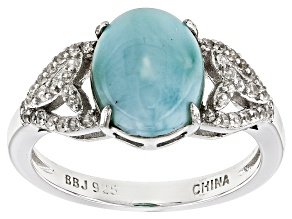 Blue Larimar Sterling Silver Ring .16ctw