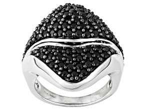 Black Spinel Sterling Silver Ring 2.83ctw