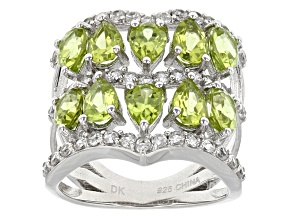 Green Peridot Sterling Silver Ring 5.36ctw