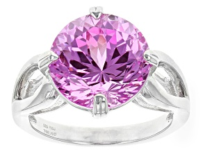 Pink Lab Created Sapphire Sterling Silver Ring 6.37ct