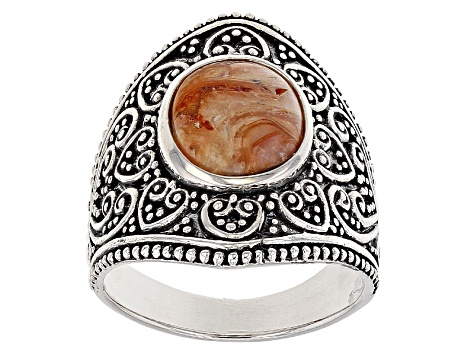 Brown Mexican Caramel Spice Opal Sterling Silver Ring
