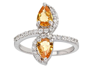 Orange Spessartite Garnet And White Zircon Sterling Silver Ring 1.91ctw