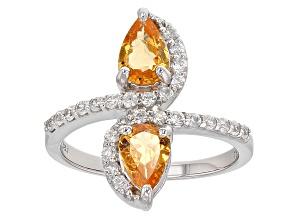 Orange Spessartite Garnet And White Zircon Sterling Silver Ring 1.91ctw