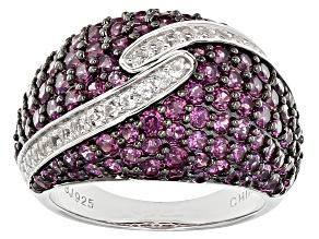 Purple Rhodolite Sterling Silver Ring 4.38ctw