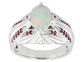 Ethiopian Opal And Pink Tourmaline Sterling Silver Ring 1.16ctw