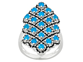 Blue Neon Apatite Sterling Silver Ring 2.79ctw