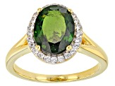 Green Chrome Diopside 18k Yellow Gold Over Sterling Silver Ring 2.89ctw.