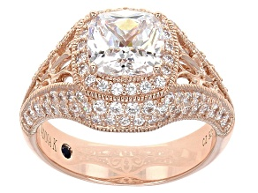 Cubic Zirconia 18k Rose Gold Over Silver Ring 4.82ctw