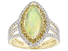 Ethiopian Opal With Yellow And White Diamond 14k Yellow Gold Ring 2.62ctw