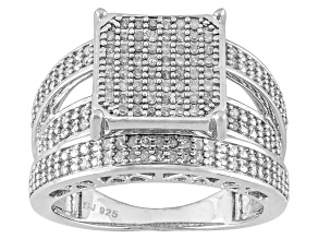 Diamond, Rhodium Over Sterling Silver Ring .50ctw