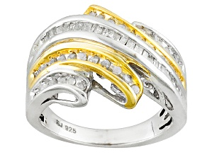 Diamond Rhodium And 14k Yellow Gold Over Sterling Silver Ring .50ctw