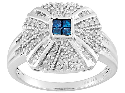 Rhodium Over Sterling Silver Blue And White Diamond Ring .50ctw