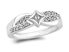 White diamond promise ring 10k white gold .50ctw