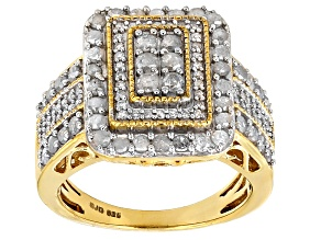 White Diamond 14k Yellow Gold Over Sterling Silver Ring 1.25ctw