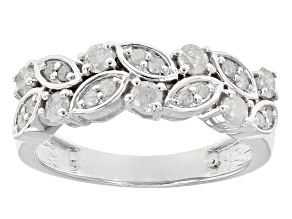 Diamond Rhodium Over Sterling Silver Ring .63ctw