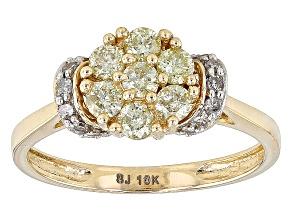Natural Yellow And White Diamond 10k Yellow Gold Ring .60ctw