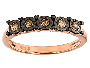 14k Rose Gold Over Sterling Silver Champagne Diamond Ring .20ctw