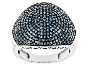 Blue Diamond Sterling Silver Ring. 1.00ctw