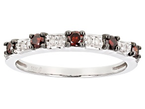 Red And White Diamond 10k White Gold Ring .25ctw