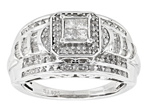 Diamond Silver Ring .65ctw