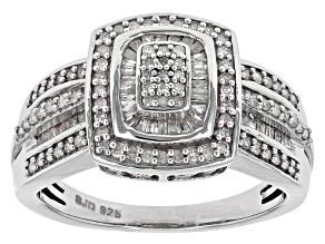 Diamond Rhodium Over Sterling Silver Ring .55ctw