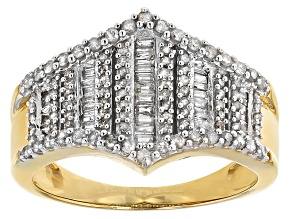 14k Yellow Gold Over Sterling Silver Diamond Ring .75ctw