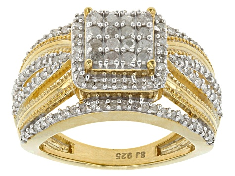 14k Yellow Gold Over Sterling Silver Diamond Ring .60ctw