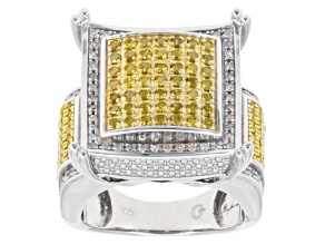 Yellow And White Diamonds Sterling Silver Ring 1.00ctw