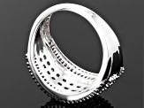 1.00ctw Round & Baguette Diamond Rhodium Over Sterling Silver Ring