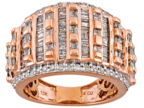 Champagne And White Diamond 10k Rose Gold Ring 2.00ctw
