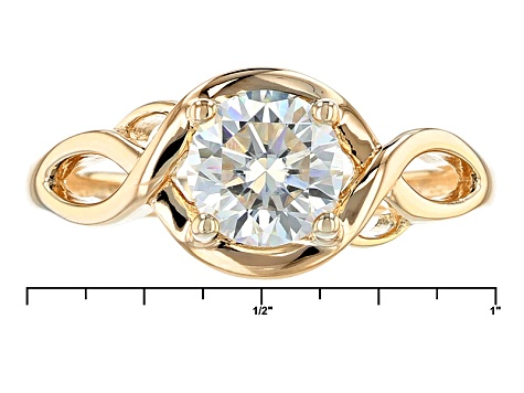 Moissanite Fire® 1.20ct DEW Round 14k Yellow Gold Over Silver Ring