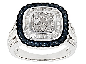 Blue And White Diamond Rhodium Over Sterling Silver Ring 1.04ctw
