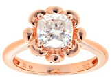 Moissanite Fire® 1.70ct DEW Cushion Cut 14k Rose Gold Over Sterling Silver Ring