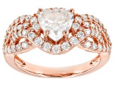 Moissanite Fire® 2.24ctw DEW Heart Shape And Round 14k Rose Gold Over Sterling Silver Ring