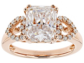 Moissanite 14k Rose Gold Over Silver Ring 4.14ctw DEW