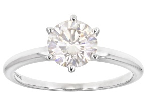 Moissanite 14k White Gold Solitaire Ring 1.90ct DEW.