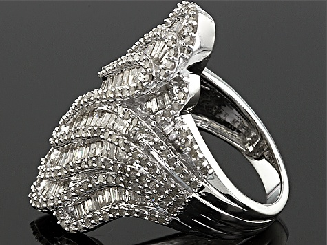2.45ctw Baguette And Round White Diamond Rhodium Over Sterling Silver Cocktail Ring