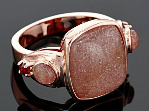 Copper Pink Strawberry Quartz Ring .13ctw
