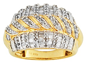 Diamond 14k Yellow Gold Over Sterling Silver Ring 1.15ctw