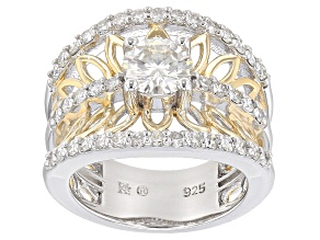 Moissanite Platineve And 14k Yellow Gold Over Silver Ring 1.80ctw D.E.W