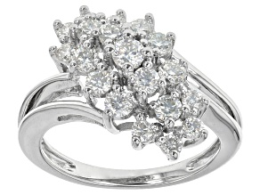 Moissanite Fire ® .94ct Diamond Equivalent Weight Round Platineve™ Ring