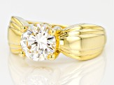Moissanite Ring 14k Yellow Gold Over Sterling Silver 2.04ct DEW