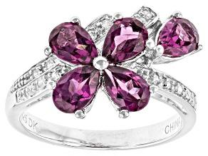 Purple Rhodolite Sterling Silver Ring 2.02ctw